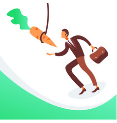 businessman running hanging carrot business vector image