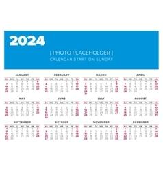 Calendar 2024 year design template vector