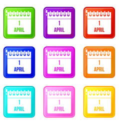 Calendar april 1 icons 9 set vector