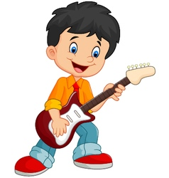 Cartoon child play guitar vector
