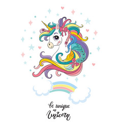 Cartoon head unicorn poster vector