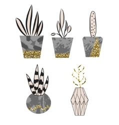 Cement flower pots with plants and glitter decor vector image