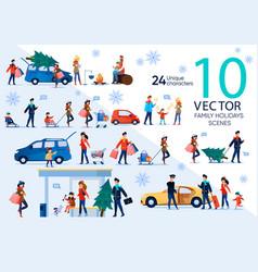 christmas family celebration flat scene set vector image