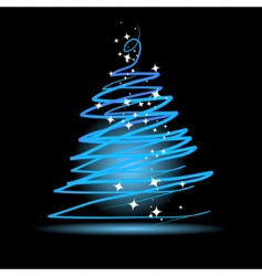 christmas tree on black background vector image