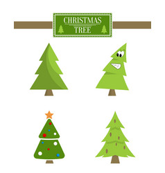 Christmas tree sign board collection spruce icons vector