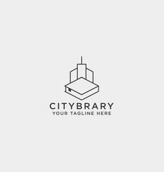 City book or home book line art logo template vector