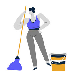 Cleaning service or housewife woman mopping vector