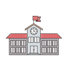 Color crayon stripe image of high school structure vector