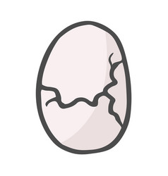 color freehand drawn cartoon cracked egg vector image