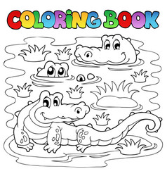 Coloring book crocodile image 1 vector