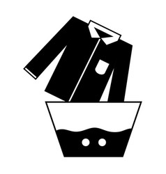 Contour clean shirt soaking in pail with water vector