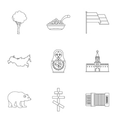 Country Russia icons set outline style vector