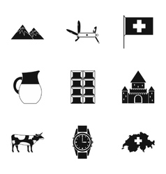 Country Switzerland icons set simple style vector image