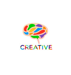creative and smart brain logo vector image