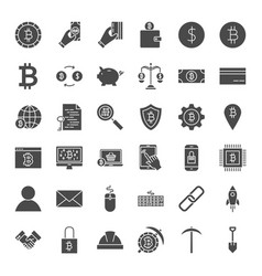 Cryptocurrency solid web icons vector
