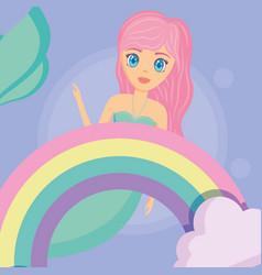 cute mermaid icon vector image