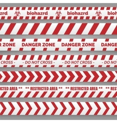 Danger tapes red and white collection vector