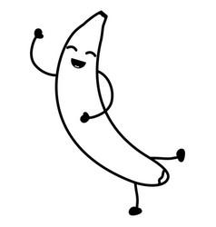Delicious banana fruit kawaii character vector