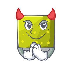 Devil square mascot cartoon style vector