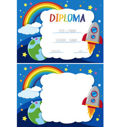 Diploma and card template with rocket in sky vector