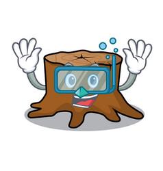 diving tree stump character cartoon vector image