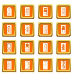 door icons set orange square vector image