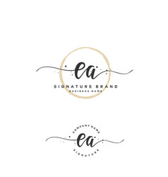 e a initial letter handwriting and signature logo vector image