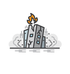 Earth quake collapsed building flat line icon vector