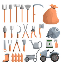 farming equipment icon set cartoon style vector image