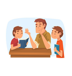Father teaching his sons parent helping boys vector