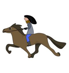 female horse rider on white background vector image