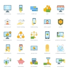 Finance safe card banking icons set credit cash vector image