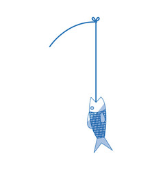 Fishing rod and fish fresh food image vector