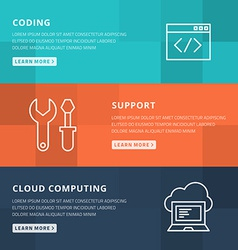 Flat design concept for coding technical support vector