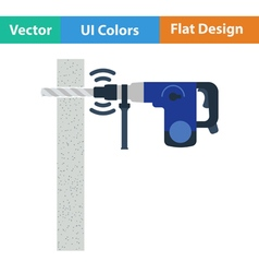 Flat design icon of perforator drilling wall vector image