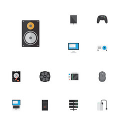 Flat icons controller cooler palmtop and other vector