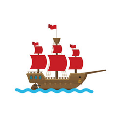 flat ship in sea vector image