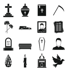 Funeral icons set simple style vector