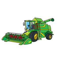 Funny combine harvester with eyes vector