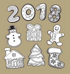 Gingerbread cookies - christmas elements and 2018 vector