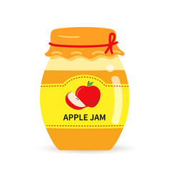 Glass jar with homemade apple jam label vector