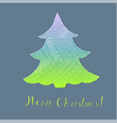 Gradient christmas tree with pattern and lettering vector