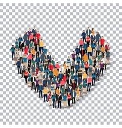 Group people shape letter V Transparency vector