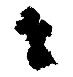 guyana island map silhouette vector image