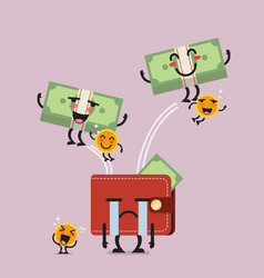 Happy money jumping out of desperate wallet vector