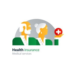 Health care insurance policy old couple side view vector