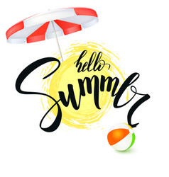 hello summer handwritten text brush pen vector image