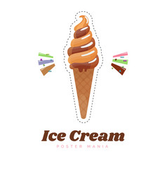 ice cream sticker or badge cute cream cone vector image