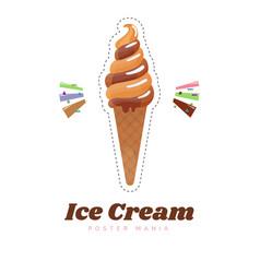 ice cream sticker or badge cute ice cream cone vector image