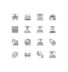 industries and manufacturing icons set vector image